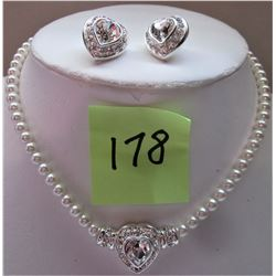 "15"" SILVER TONE VENDOME FAUX PEARL NECKLACE, MATCHING HEART EARRINGS"