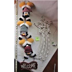 "30"" PLUSH PENGUIN WELCOME SIGN, 20"" WHITE ELECTRIC SHOOTING STAR DECORATION"