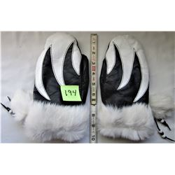 BLACK & WHITE LEATHER LINED MITTS, WHITE FUR TRIM