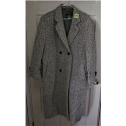 MENS CASUALMAN DOUBLE BREASTED TWEED OVERCOAT SIZE 34/36