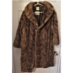 STEEN & WRIGHT FURRIES FULL LENGTH BROWN MINK FUR COAR SIZE SMALL