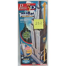 """2003 PUZZ 3D WREBBIT TOWERS TO SCALE """"EMPIRE STATE BUILDING"""" 569+ PCS"""