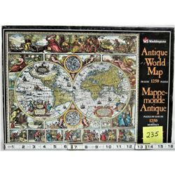 """1989 WADDINGTONS 1250 PC """"ANTIQUE WORLD MAP"""" PUZZLE"""