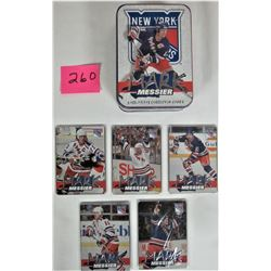 SET ALL 5 NYR MARK MESSIER METAL EMBOSSED COLLECTOR CARDS IN TIN