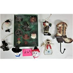 LOT WESTERN THEME XMAS DECORATIONS