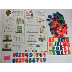 ASST 1972 FISHER PRICE SCHOOL DAYS CARDBOARD STENCILS, PLASTIC MAGENTIC LETTERS