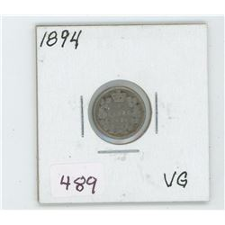 1894 Canada 5 Cent Coin