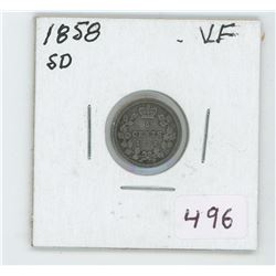 1858 Canada 5 Cent Coin