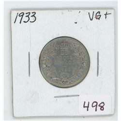 1933 Canada 25 Cent Coin