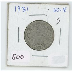 1931 Canada 25 Cent Coin