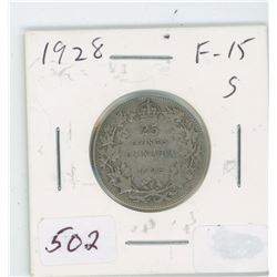 1928 Canada 25 Cent Coin