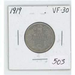 1919 Canada 25 Cent Coin