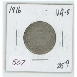 1916 Canada 25 Cent Coin