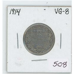 1914 Canada 25 Cent Coin