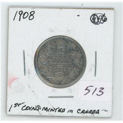 1908 Canada 25 Cent Coin