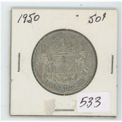 1950 Canada 50 Cent Coin