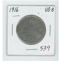 1916 Canada 50 Cent Coin