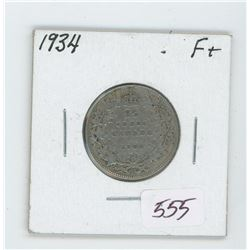 1934 Canada 25 Cent Coin