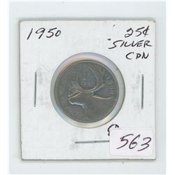 1950 Canada 25 Cent Coin