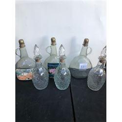6 assorted wine bottles