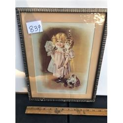 """11.5"""" X 14.5"""" framed Victorian girl 'pussy's play time'"""
