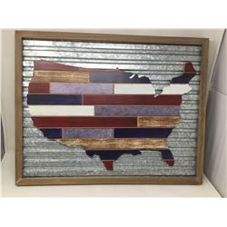 Wood USA Map on Metal (60cm x 47cm)