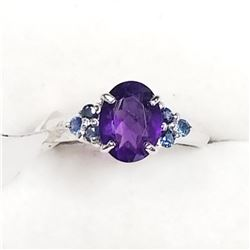 Sterling Silver Amethyst(February Birthstone) Ring (~Size 5), Suggested Retail Value $200 (Estimated
