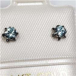 14K White Gold Blue Zircon(0.36cts) Earrings, Made in Canada, Suggested Retail Value $160