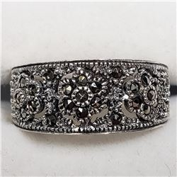 Sterling Silver Marcasite Ring (~Size 7), Suggested Retail Value $160