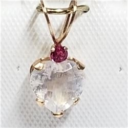 10K Yellow Gold Moonstone(0.65cts) Ruby Pendant, Made in Canada, Suggested Retail Value $160