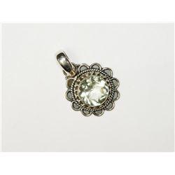 Silver Green Amethyst Pendant. Retail $80