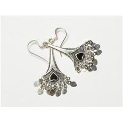 Silver Black Onyx Dangling Earrings. Retail $400