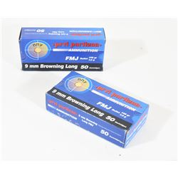 100 Rounds PPU 9mm Browning Long(9x20) 108gr FMJ
