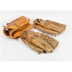 3 Left Hand Baseball Gloves