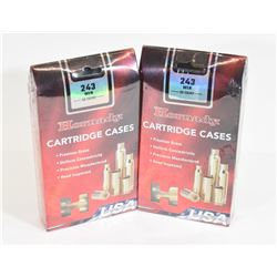 100 Pieces New Hornady 243 Cartridge Cases