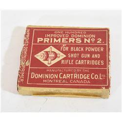 100 Dominion Primers for Black Powder