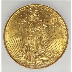 1908 NO MOTTO $20 ST. GAUDEN'S