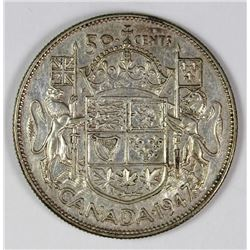1947 MAPLE LEAF CANADA HALF DOLLAR