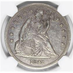 1842 SEATED DOLLAR