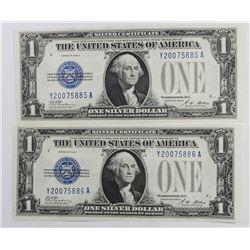 (2) 1928-A $1.00 SILVER CERTIFICATES