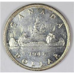1947 MAPLE LEAF CANADA SILVER DOLLAR