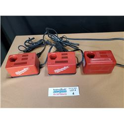 Lot of 3 Milwaukee Battery Chargers