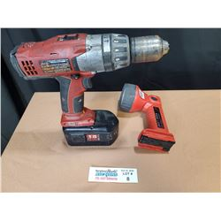Milwaukee Cordless 18V Drill and Flashlight *Tested and Works*