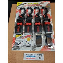 """Erickson 4 pack of 1"""" x 15' 1300lb Ratchet Straps *New Factory Sealed*"""