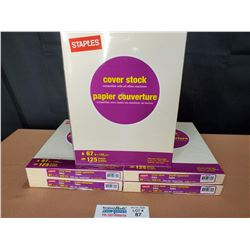 """4 Packs of Staples Cover Stock 67 Lb 8.5"""" x 11"""" Letter Size Paper *New Factory Sealed*"""