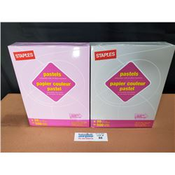 """1 Packs of Staples Pastels Lilac & 1 Pack of Staples Pastels Gray 8.5"""" x 11"""" Letter Size Paper *New"""