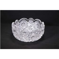 "Rare and vintage Gowen, Kent & Company brilliant hand cut hobstar crystal fruit bowl 9"" in diameter"