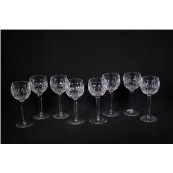 Eight Waterford Lismore crystal tall stem hock wine glasses