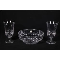"Two Waterford crystal water goblets and a 7 1/2"" Waterford bowl"