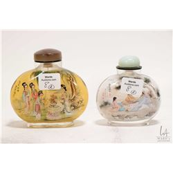 "Two Chinese reverse painted glass snuff bottles including a 3 1/4"" and a 3 1/2"""